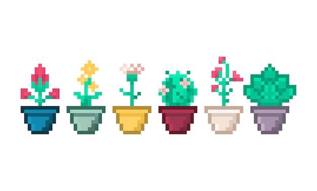 家のインテリアデザインのためのポットの花の装飾のピクセル植物のセット