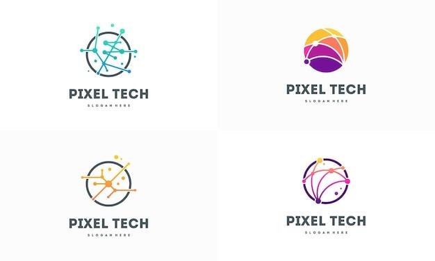 픽셀 기술 로고 디자인 개념 벡터, 네트워크 인터넷 로고 기호, 디지털 와이어 로고 세트