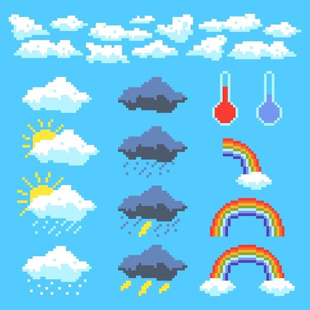 픽셀 날씨 아이콘의 집합입니다. 구름, 뇌운, 무지개. 픽셀 아트 스타일의 벡터 일러스트 레이 션