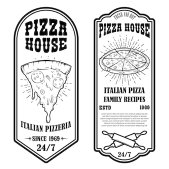 ピザハウスチラシのセット。ポスター、カード、バナー、エンブレム、サイン、ラベルのデザイン要素。ベクトルイラスト