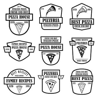 피자 집, 피자 엠블럼 세트. 포스터, 로고, 레이블, 기호 디자인 요소입니다.