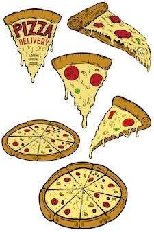 ピザのイラストのセットです。ポスター、メニュー、レストランのチラシの要素。ピザの宅配。図