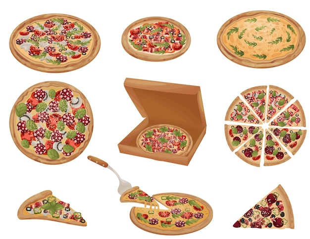 さまざまな形のピザのセット。丸ごと、カット、ピース、箱の中に。白い背景のイラスト。