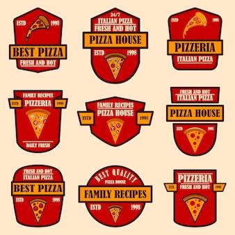 피자 엠블럼 세트입니다. 로고, 레이블, 기호, 포스터, 전단지 디자인 요소입니다. 벡터 일러스트 레이 션