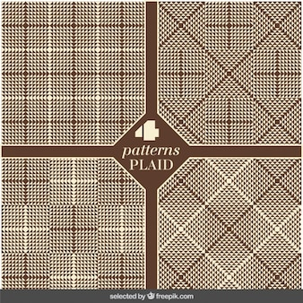 Set of plaid brown patterns