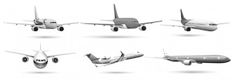 Set of planes in grayscale