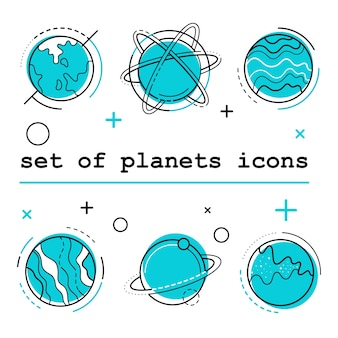 Set of planets icons. Vector illustration. White bg