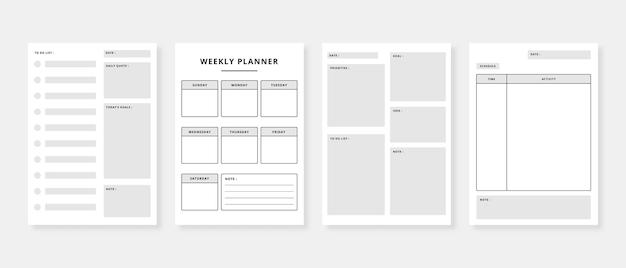 Набор планировщика и список дел шаблон ежемесячного еженедельного ежедневника