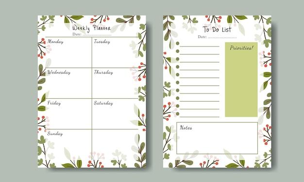 인쇄 가능한 손으로 그린 잎 배경 템플릿으로 플래너 할 일 목록 세트