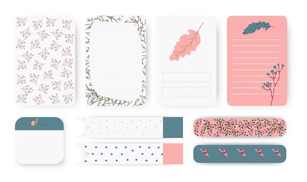 기획자 노트북 페이지의 집합입니다. 메모 용지, 스티커 및 덕트 테이프.