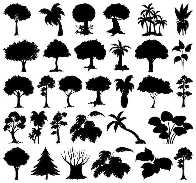 Набор растений и силуэт дерева