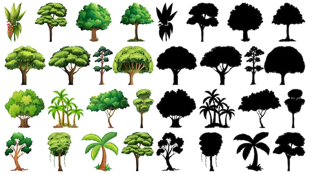 そのシルエットと植物と木のセット