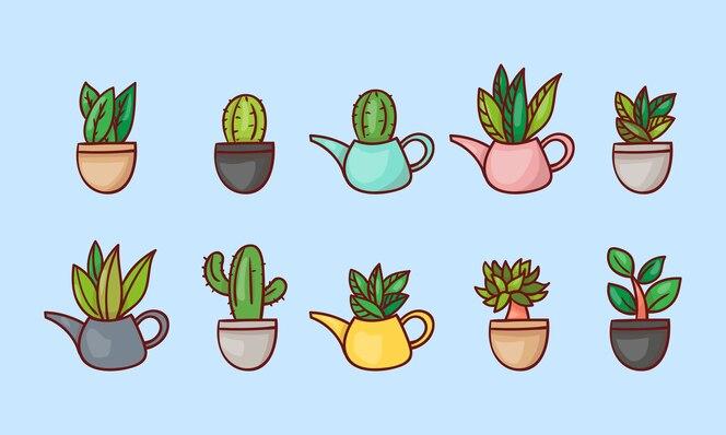 선택적 외모가있는 식물 캐릭터 세트.