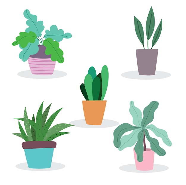 Набор растений на горшке садовое украшение мультяшный плоский изолированный стиль иллюстрации Premium векторы