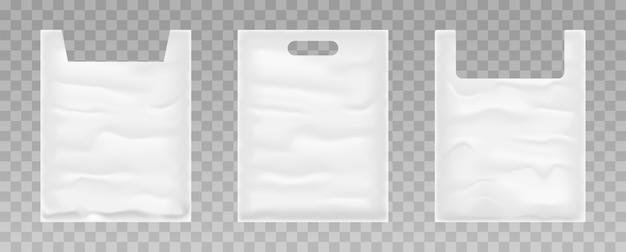 透明な背景にビニール袋のセットです。白いビニール袋。 。