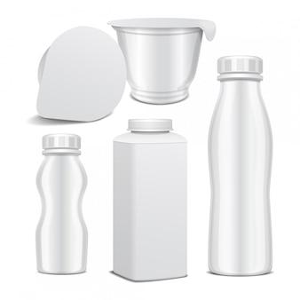 유제품에 대 한 플라스틱 병 및 둥근 흰색 광택 플라스틱 냄비의 집합입니다. 우유의 경우 요구르트, 크림, 디저트를 마 십니다. 현실적인 템플릿