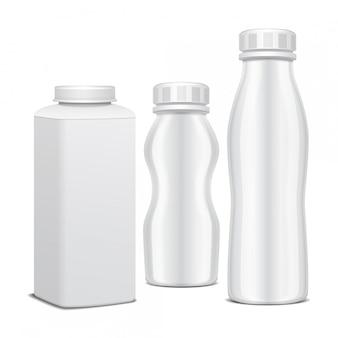 Набор пластиковых бутылок с завинчивающейся крышкой для молочных продуктов. для молока пей йогурт, сливки, десерт. реалистичный шаблон пакета