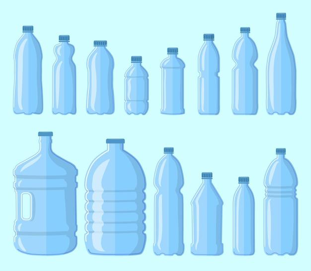 Набор пластиковых бутылок для воды. иллюстрации шаржа