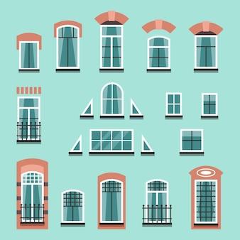 シャッター、窓辺、カーテン、壁のないバルコニー付きのプラスチック製または木製の窓枠のセット。フラットスタイルのイラスト