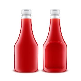 ブランディング用のプラスチック製の赤いケチャップボトルのセット