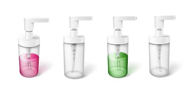 液体ジェルまたは消毒剤付きのプラスチック石鹸ディスペンサーのセット。背景の間にテンプレート。美容化粧品やシャンプーのリアルなモックアップ。ベクトルイラスト