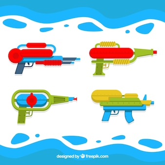 Set of plastic water guns in flat style