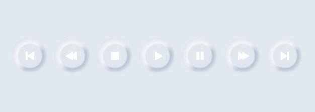 재생 버튼 아이콘의 집합입니다. 소프트 ui 음악 플레이어 버튼입니다. 뉴모픽. 뉴모피스