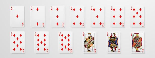 Набор концепции игральных карт в покер