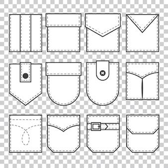 Набор карманных нашивок. элементы для униформы или повседневного стиля одежды, платьев и рубашек. штриховая графика.