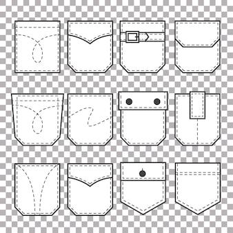 Набор карманных нашивок. элементы для униформы или повседневного стиля одежды, платьев и рубашек.