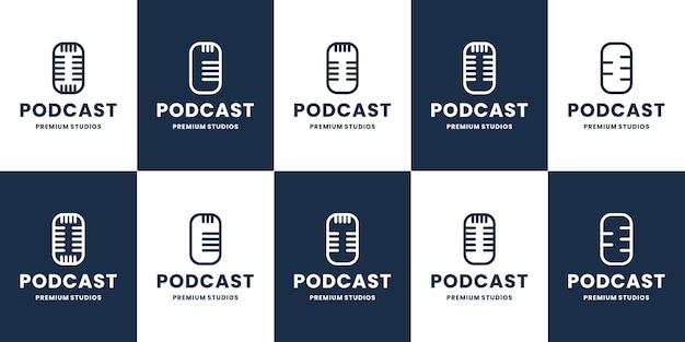 ポッドキャストのロゴデザインコレクションのセット