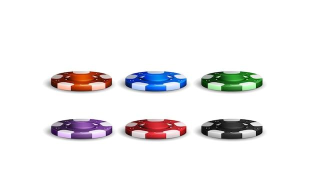 포커 칩 흰색 배경에 고립의 집합입니다. 카지노용 현실적인 주황색, 파란색, 녹색, 보라색, 빨간색 및 검은색 빈 칩