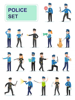 彼らの仕事をしている警官のセット。