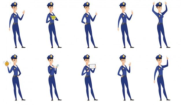 Набор полицейских женщин символов.