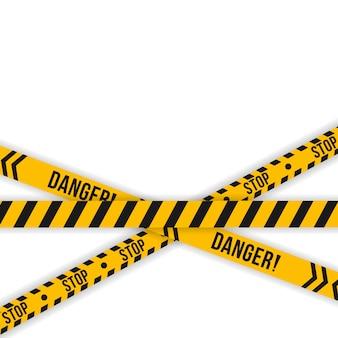 警察の黄色と黒のテープのセット。斜めストライプのセキュリティ。安全危険リボン標識。警告記号を警告します。工事中、警戒線を越え、警告せず、横断しないでください。