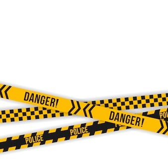 警察の黄色と黒のテープのセット。斜めストライプのセキュリティ。安全危険リボン標識。警告記号を警告します。工事中、警戒線を越え、警戒線を渡らないでください。