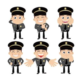 다른 포즈의 경찰관 문자 집합
