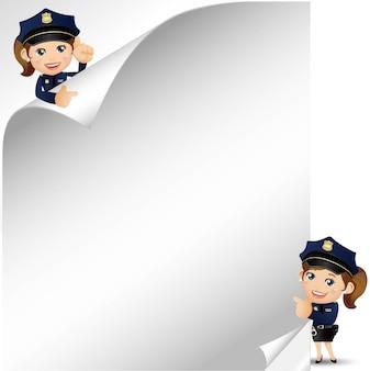 さまざまなポーズの警官キャラクターのセット