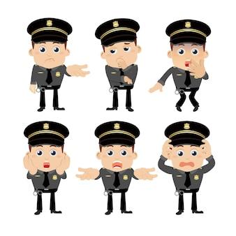 다른 포즈의 경찰관 캐릭터 세트