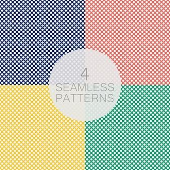 水玉模様のシームレスパターンのセットです。青い背景の上の白い円。チェック柄、洋服、シャツ、ドレス、その他のテキスタイル製品のテクスチャ。ベクトルイラスト。