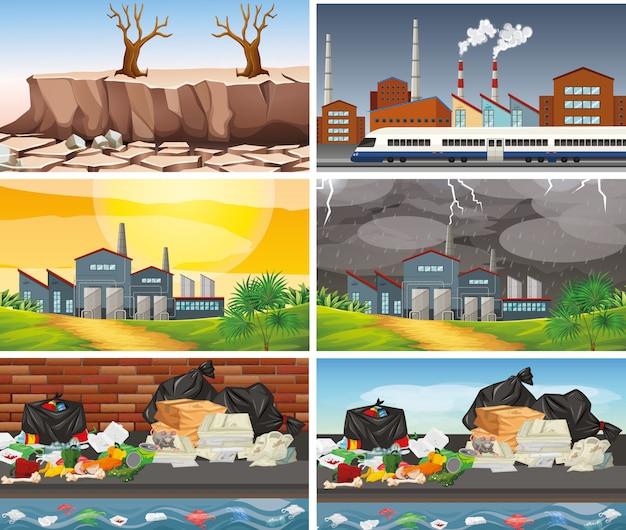 오염 된 장면 세트