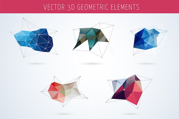 Набор полигональных геометрических абстрактных элементов