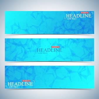 多角形の水平背景のセットです。モダンなページのウェブサイトのデザインテンプレートです。図