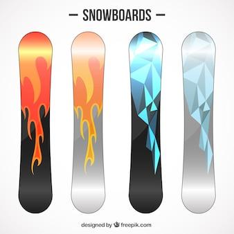 多角形スノーボードと炎のセット