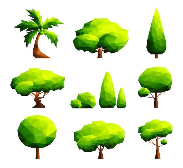多角形の木と茂みの図のセット