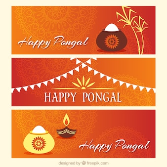 Set of pongal banners with white details