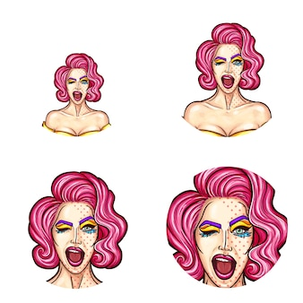 Set of pop art round avatar icons for users of social networking, blogs, profile icons.