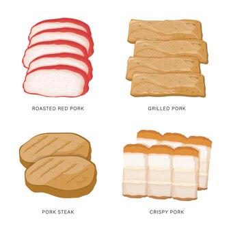 白で隔離される豚肉スライス食品のセット