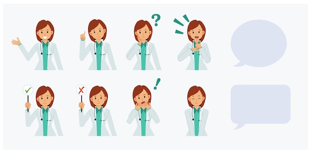 様々なアクション、思考、笑顔、驚き、ショック、アドバイス、情報を与える肖像画の女医のセット。フラットベクトル漫画のキャラクターイラスト。