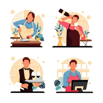 キャラクターレストランの従業員の肖像画のセット。フラットなデザインコンセプト。図